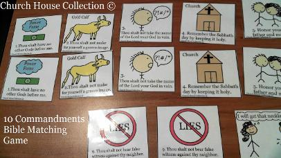 10 Commandments Bible Matching Game for kids