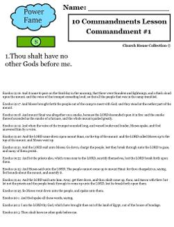 10 Commandments - Thou Shalt have no other gods before me lesson plan