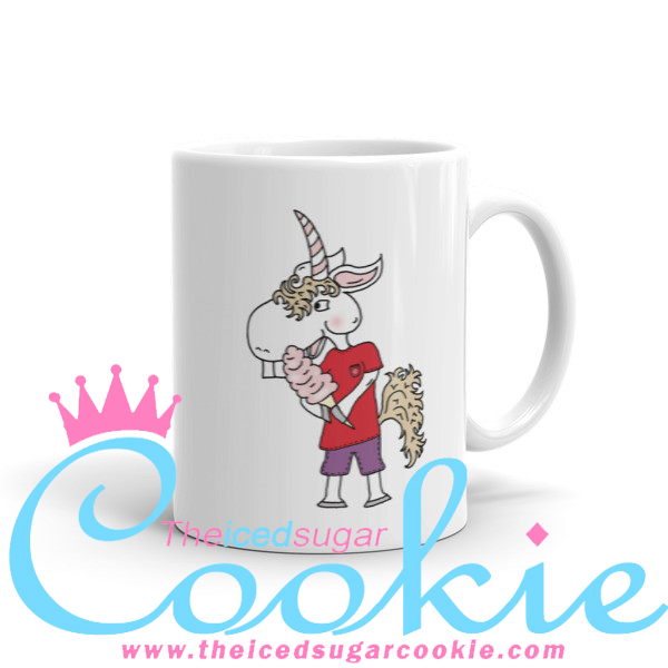 Unicorn Eating Cotton Candy. Coffee Cup Mug by The Iced Sugar Cookie. Unique one of kind cartoon illustrations of unicorn. Great as Birthday gifts for loved ones