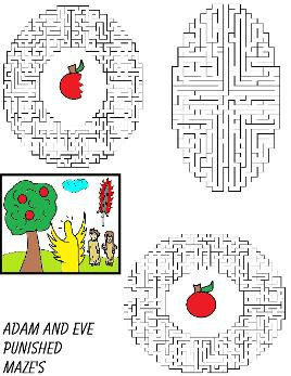 Adam and Eve Maze To Go With Matching Adam and Eve Sunday School Lesson For Preschool Kids For Free by Church House Collection