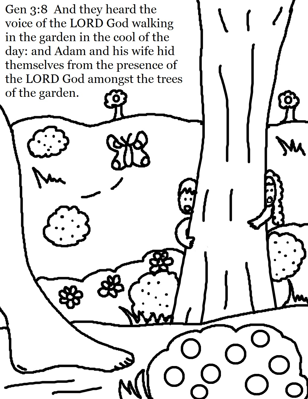 Adam And Eve Coloring Pages Hiding