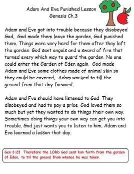 Aam and Eve Sunday School Lesson