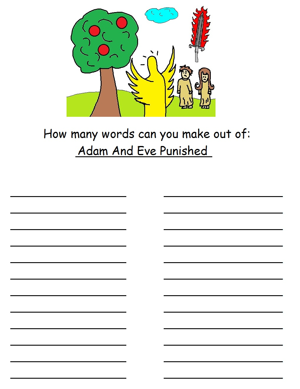 free adam and eve sunday lessons for kids