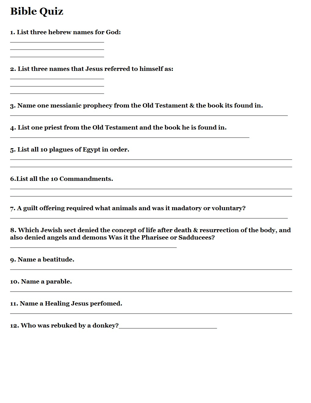 Printable Bible Quizzes – Printable Bible Study Worksheets for Adults