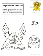 Angel Praise the Lord activity Cut out Sheet