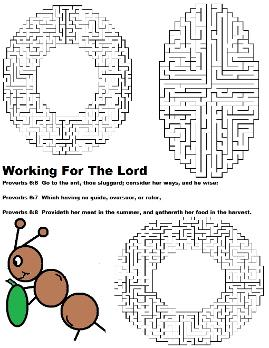 Sunday School printable maze with ant
