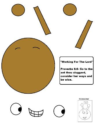 Ant Sunday school lesson activity cut out sheet