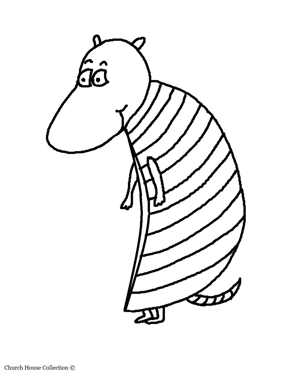 Armadillo Coloring Page. Animal Coloring Pages For Kids. Without Words