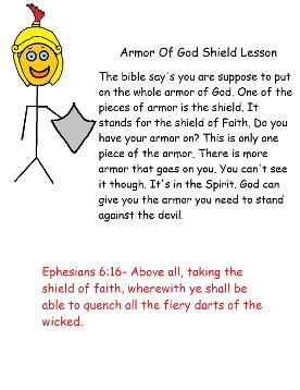 Armor of God Sunday School Lesson Take Home Sheet