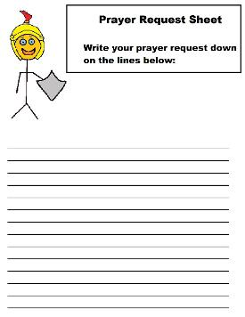 Armor of God Prayer Request Sheet For Kids