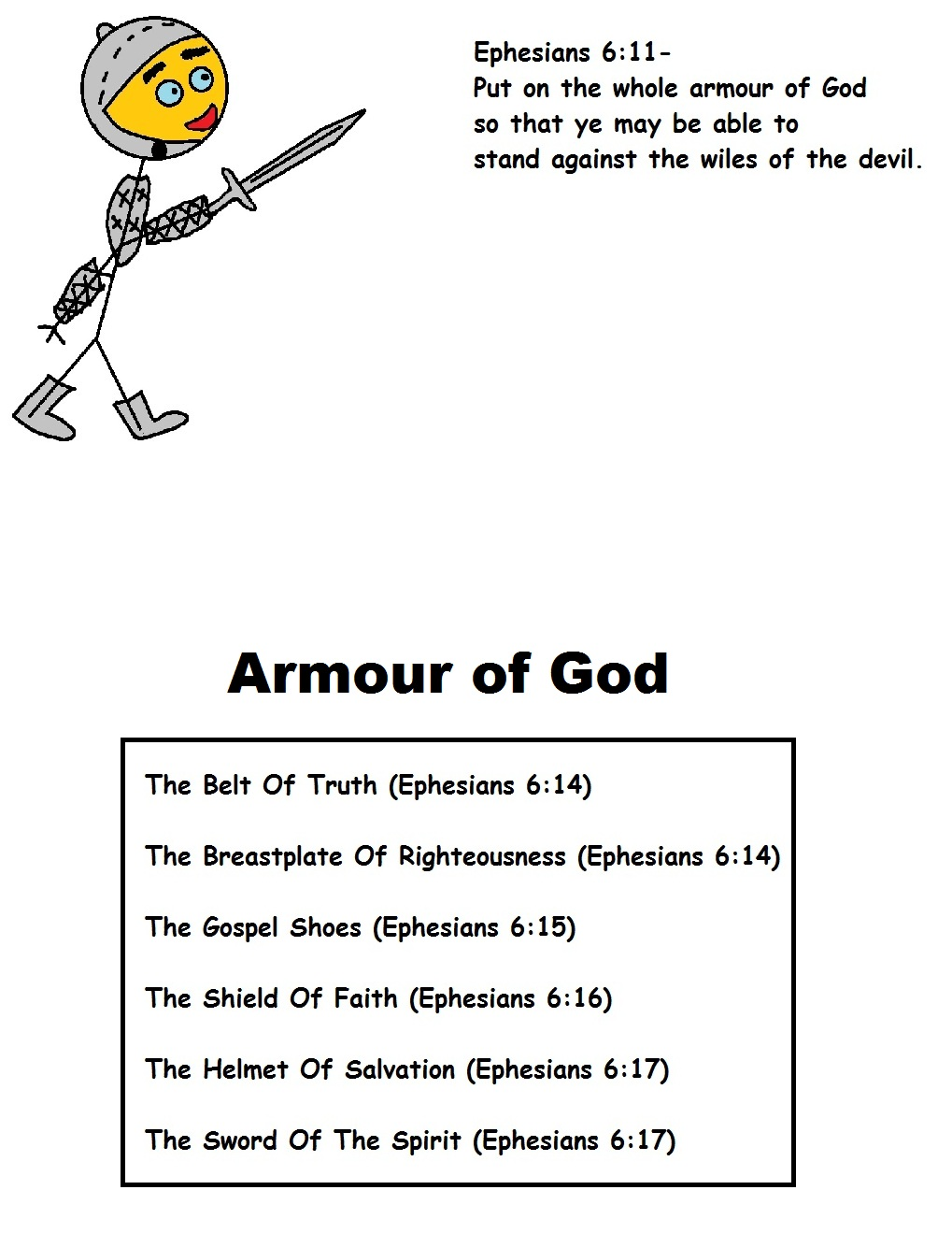 picture regarding Armor of God Printable titled Armor Of God
