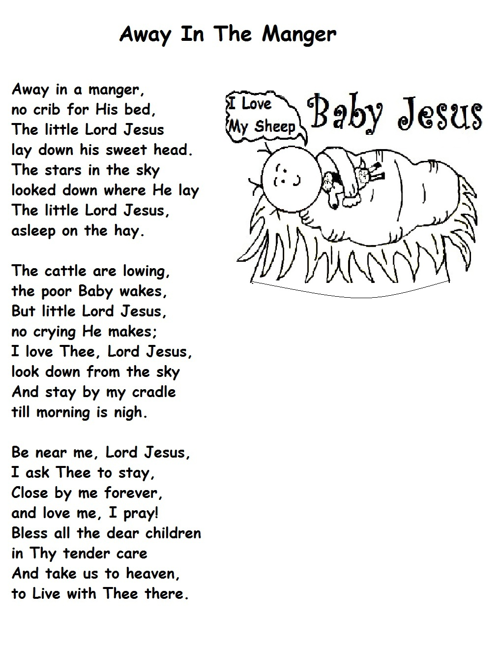 Away in the manger for Away in a manger coloring pages