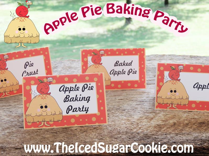 Apple Pie Baking Party Food Label Tent Cards-Printable Digital Download-Pie Crust, Apple Pie Baking Party, Baked Apple Pie, Apples-By The Iced Sugar Cookie Great for a Fall or Thanksgiving Party!