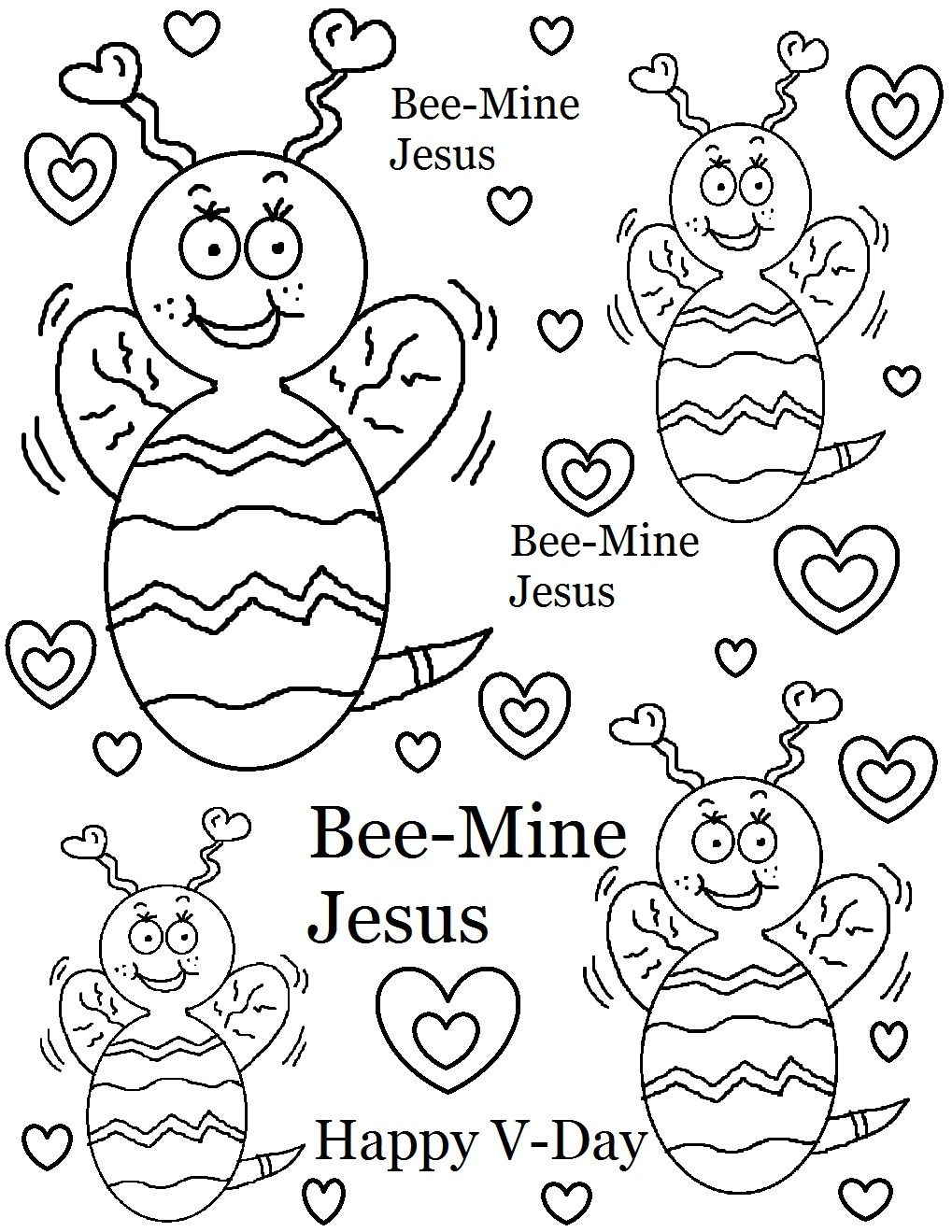 Bee Mine Valentine Coloring Pages Jesus