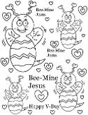 Bee-Mine Valentine Coloring Pages