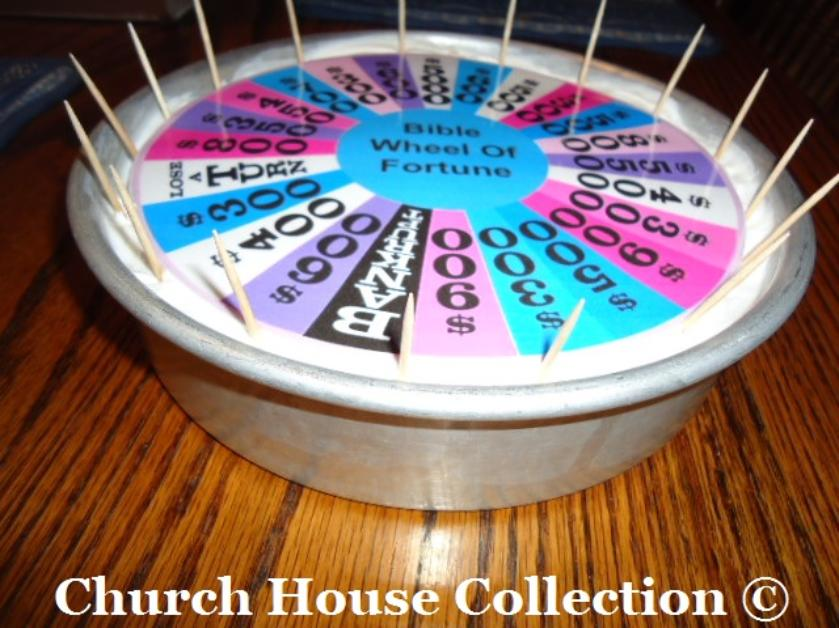 Bible Wheel of Fortune Cake by ChurchHouseCollection.com Goes with our Bible Wheel Of Fortune Game idea