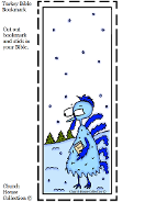 Blue Cold Frozen Turkey Free Printable Bookmark Carrying Bible walking in snow winter thanksgiving kids free printable bookmark cut out