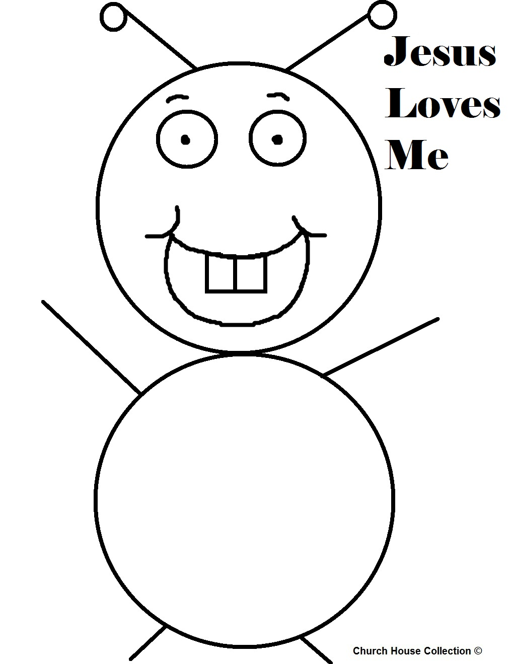 jesus loves me bug coloring page with words