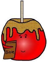 Candy Apple Sunday School Lesson- Fall Sunday School Lessons-Candy Apple Holding A Bible in his hands clipart