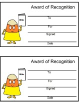 Candy Corn Award Certificates