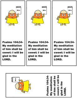 Candy Corn Bookmarks Free Printable Tempalates for Fall Sunday School Lessons by Church House Collection-Candy Corn Holding A Bible Clipart cartoon picture