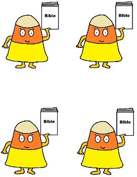 candy corn holding bible sunday school printable
