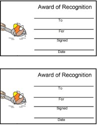Candy Corn Riding On Spoon Award Certificate