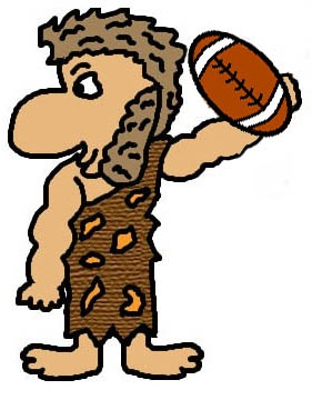Cave City Caveman Throwing Football Clipart Picture