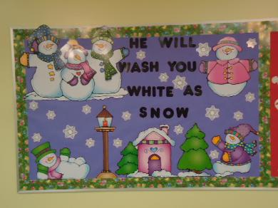 He will wash you white as snow bulletin board ideas for Christmas winter time for your Sunday school classroom or children's church room area. Use our snowman sunday school lesson plan to go with this!