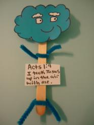 Cloud popsicle stick puppets Acts 1:9 Cloud sunday school lesson