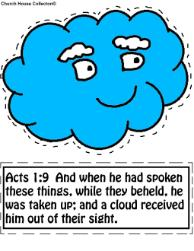 Cloud cutout activity sheet for kids Cloud Sunday school lesson