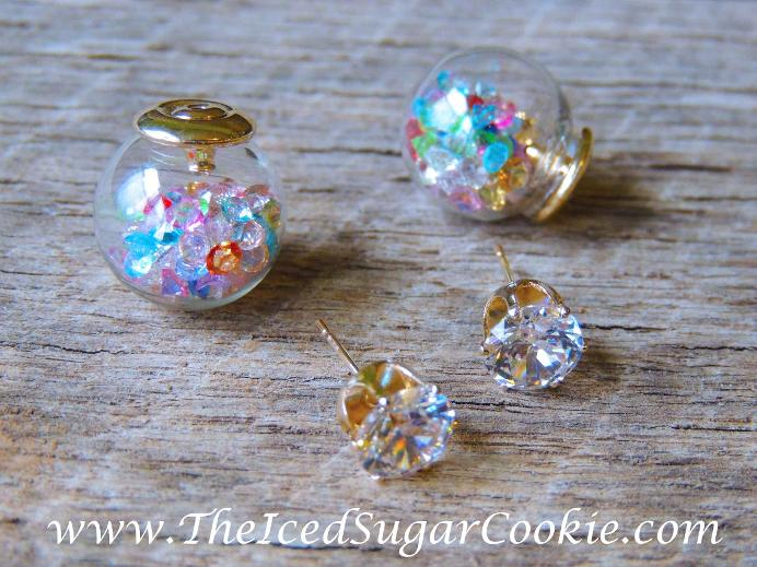 www.TheIcedSugarCookie.com The Iced Sugar Cookie offers crystal filled glass ball earrings.
