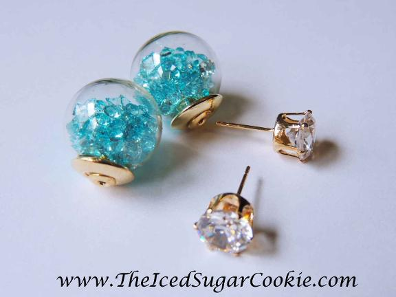 Crystal filled glass ball earrings by The Iced Sugar Cookie- www.TheIcedSugarCookie.com Jewelry for women, girls, teens. Trendy fashion for spring and summer 2016.