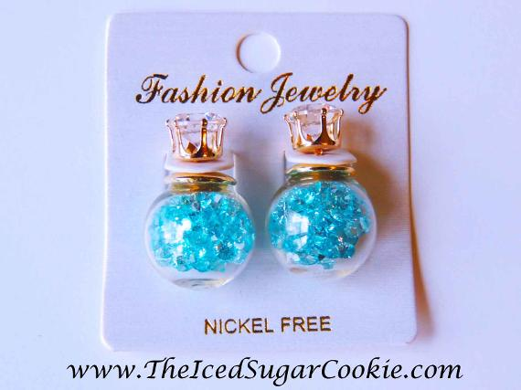 Fashion Jewelry Blue glass ball crystal filled earrings by The Iced Sugar Cookie. www.TheIcedSugarCookie.com Jewelry bracelets Earrings Teens Girls Women