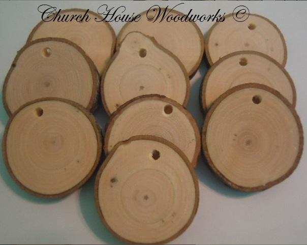 Wood Slices With Holes- Use for Christmas Decorations and draw or paint on them. By Church House Woodworks- Rustic Wedding Supplies- Wood Tree Supplies