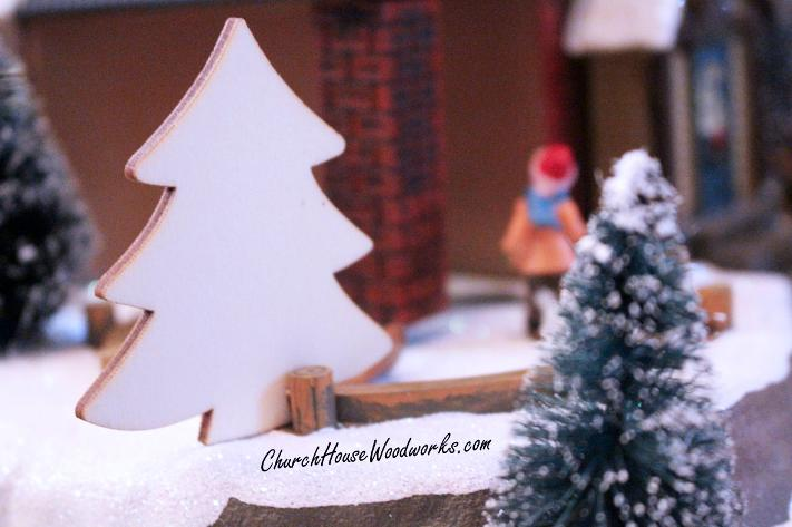 Blank Wood Christmas Trees For Christmas Villages DIY Ideas Crafts Projects Supplies Decorations Snow Winter Wonderland
