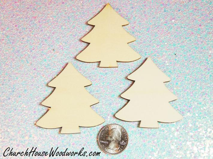 Blank Wood Christmas Tree Ornaments For DIY Craft Projects and Painting