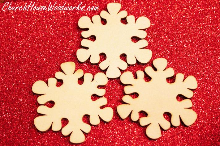 Blank Wood Snowflake Christmas Ornaments For DIY Christmas Wreaths, Christmas Villages, or Christmas Tree Ornaments.