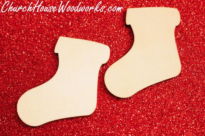 Blank Wood Stocking Christmas Ornaments DIY Wooden Ornaments