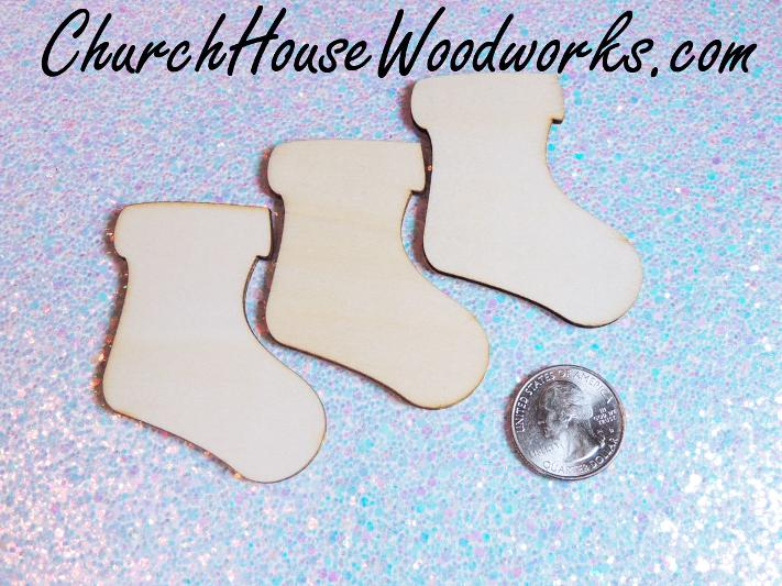 Wood Stocking Christmas Ornaments Blank