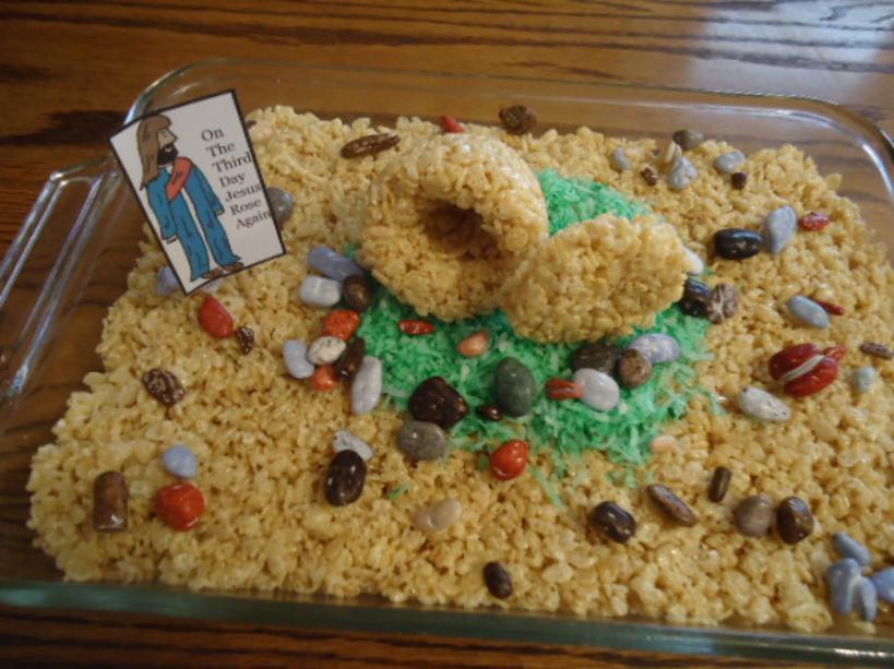 Easter Rice Krispy Tomb Cake Recipe-Easter Snacks for Preschool Kids for Sunday school or children's church by ChurchHouseCollection.com Jesus Tomb Rice Krispy Treat Cakes