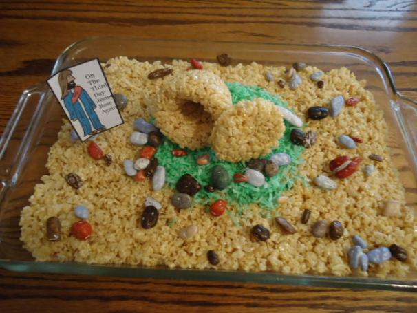 Easter Rice Krispy Tomb Cake