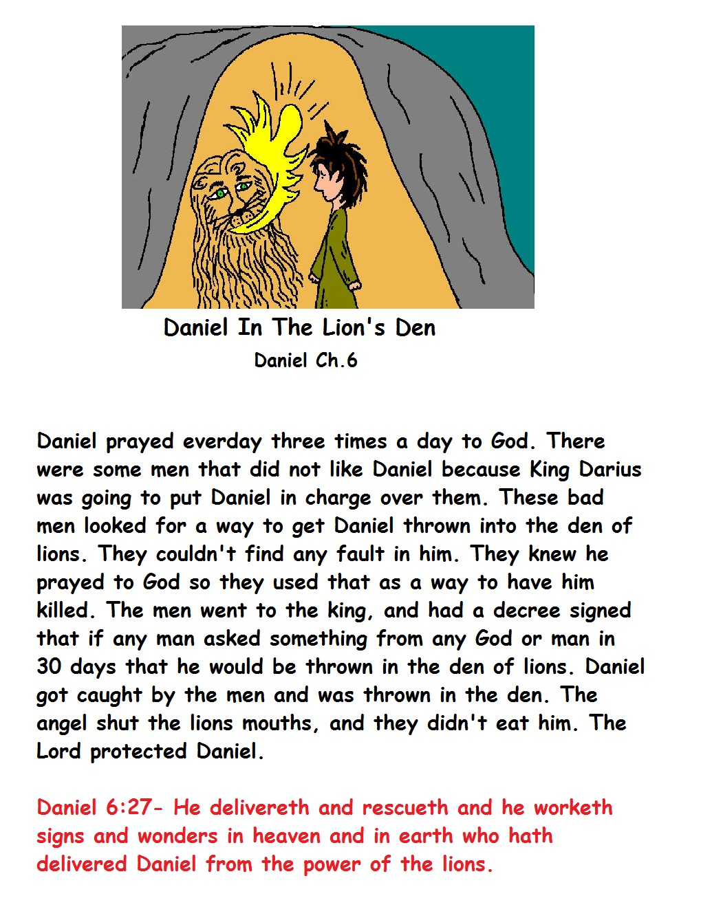 Daniel 6 coloring pages - Daniel In The Lions Den Sunday School Lesson Printable Version Daniel In The Lion S Den Coloring Page