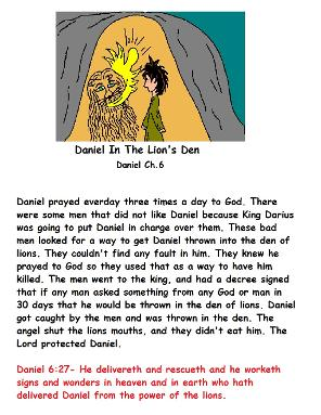 Daniel in The Lion's Den Sunday school lesson