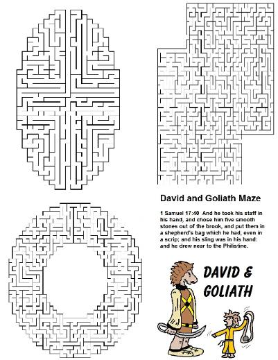 Free David and Goliath Maze For Sunday School Lessons for kids by Church House Collection