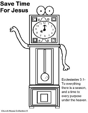 Daylight Savings time clock coloring page Ecc 3:1- Grandfather clock Save time for Jesus