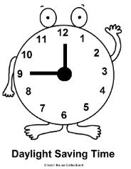 Daylight Savings Time Clock Coloring Pages