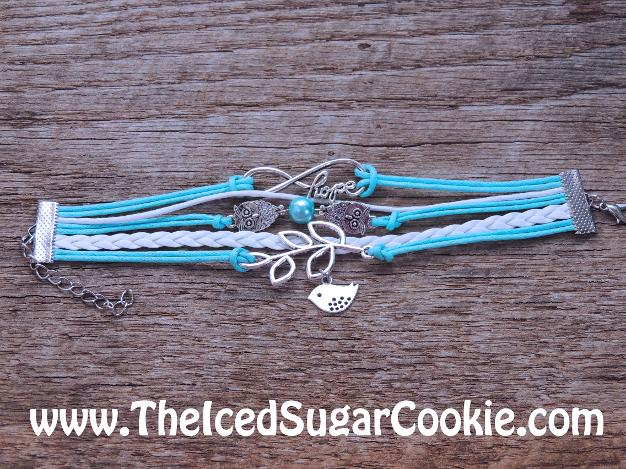 Blue and White Leather Bracelet Dove Owl Infinity Sign Hope by The Iced Sugar Cookie - Jewelry for girls and women