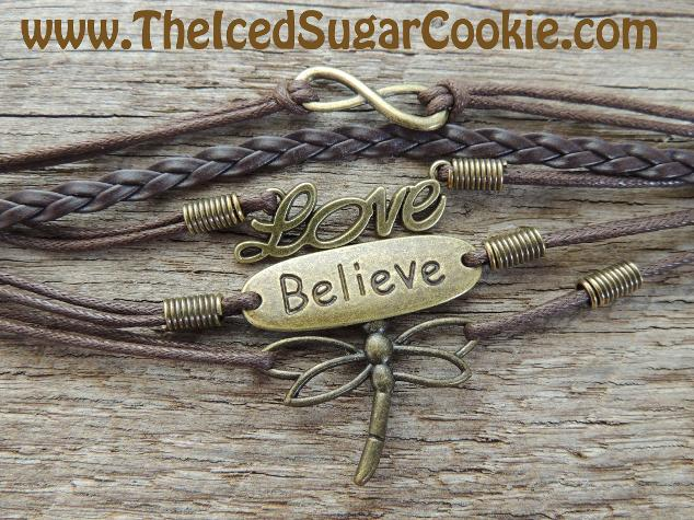 Brown Leather Bracelet Love, Believe, Dragonfly, Infinity Sign by The Iced Sugar Cookie - Jewelry for women and girls