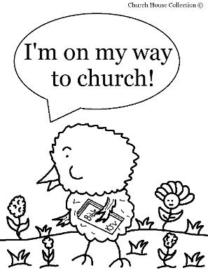 Easter Chick Coloring Pages For Sunday School  by ChurchHouseCollection.com Easter Chick Holding A Bible I'm On my Way to Church Coloring Pages for Sunday School Preschool Kids